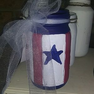 Hand-painted Americana large mason jar